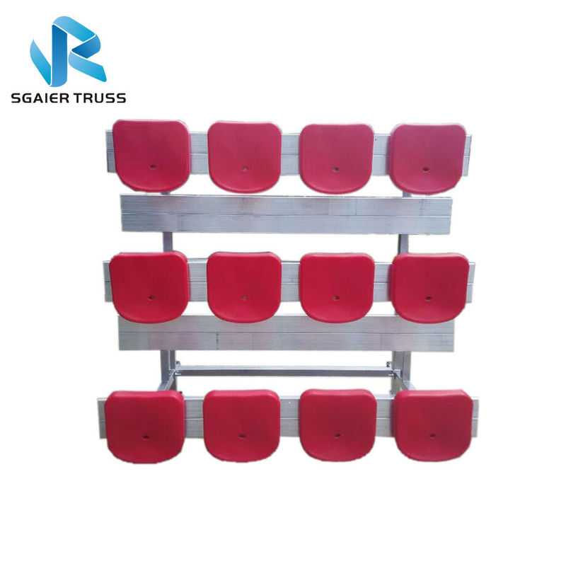 Straight 5 Row Bleachers , Fireproof Portable Aluminum Bleachers With Foot Pads / Plastic Seats