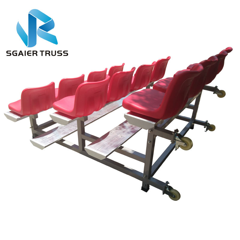 Strong Convenient Aluminum Stadium Bleachers With Wheels Easy To Assemble
