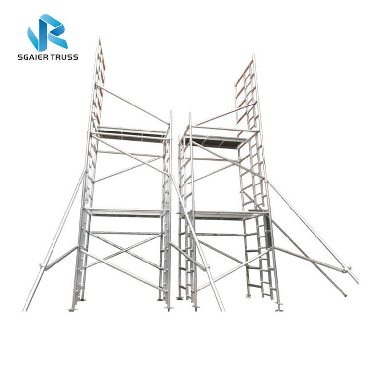 Building Construction Cleaning Aluminium Scaffolding Ladder , En1004 Mobile Tower Scaffold
